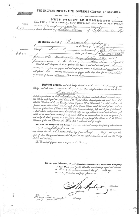 Page one of insurance policy for Warwick, slave of John Jones