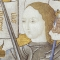 Close-up of miniature of Jeanne d'Arc from Archives Nationales, France