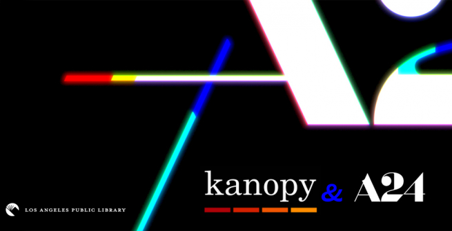 A24 and Kanopy logos on black background