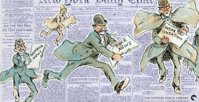 newspaper with cartoon men running