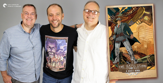 Authors Steve Nedvidek, Ed Crowell, and Jack Lowe and their second book of the graphic novel series The Jekyll Island Chronicles: A Devil's Reach
