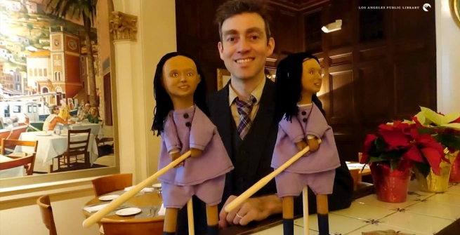 Jesse Kingsley with two puppets