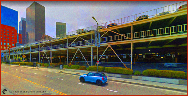stylized view of the parking structure on first and olive