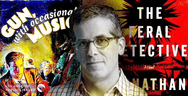 Graphic collage of American novelist Jonathan Lethem and two of his books Gun, with Occasional Music and The Feral Detective