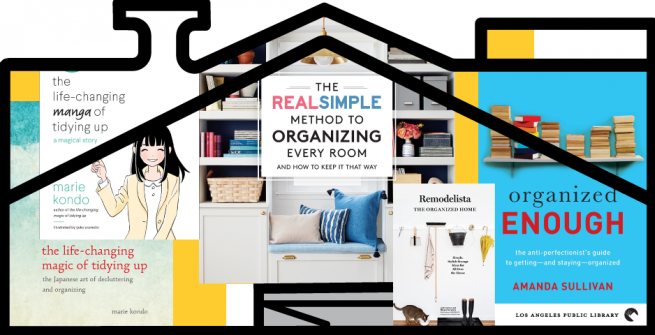 Graphic header of organizational books superimpose within an outline of a house.