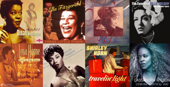 8 album covers of women jazz musicians