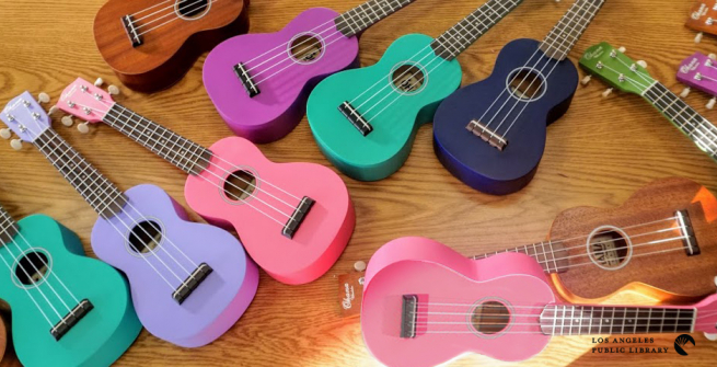 Colorful collection of ukuleles