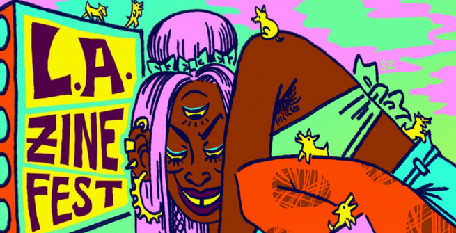 Design for the 2019 L.A. Zine Fest by artist Sophia Zarders