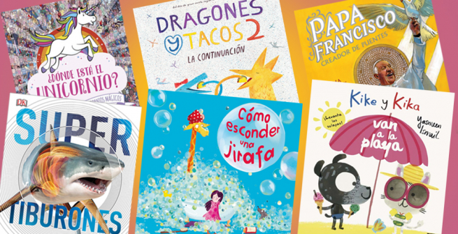 6 children's book covers in Spanish
