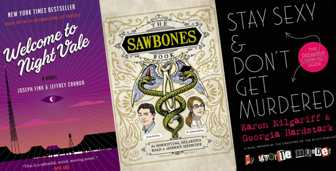 3 book covers and their accompanying podcast logos