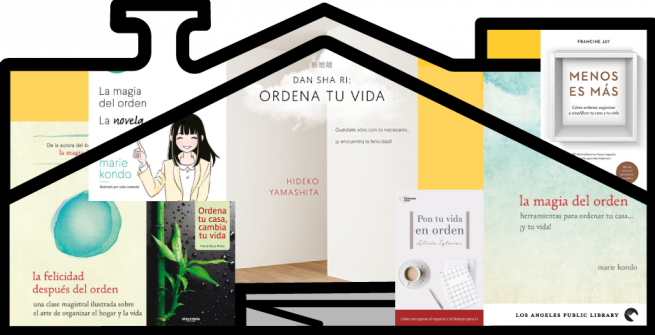house graphic with Spanish books inside