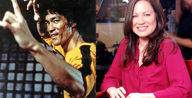 Two split images: On the left an image of martial artist Bruce Lee, on the right an image of his daughter Shannon Lee.