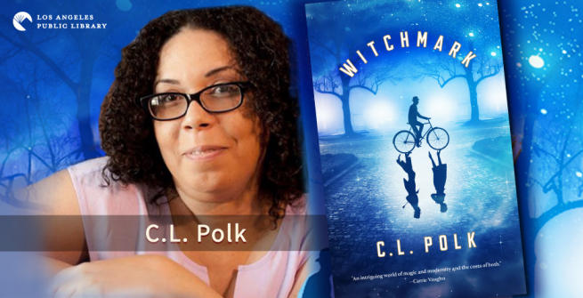 Photo of author C.L. Polk  and her book Witchmark