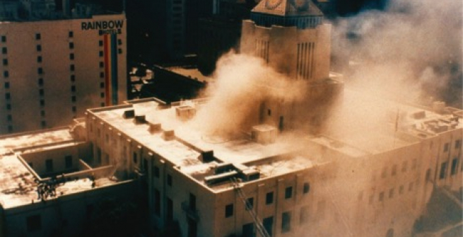 Aerial view of fire, April 29,1986