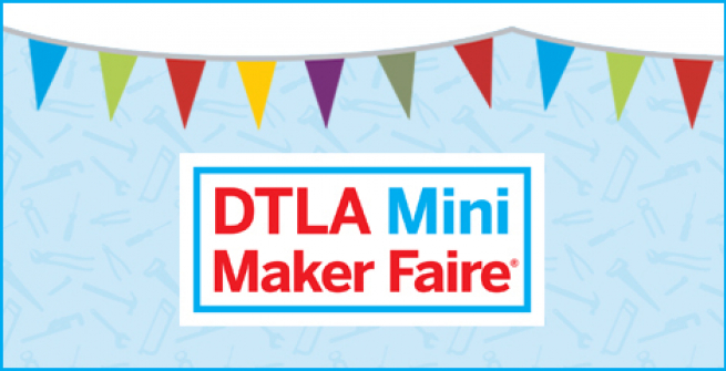 colorful flag banner with maker faire logo