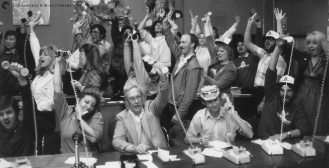 Jubilant participants during the 1987 Save the Books telethon.