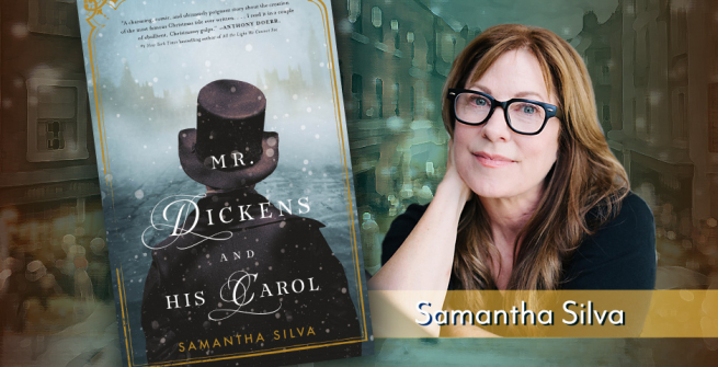 graphic on leftside is the book cover of Mr. Dickens and His Carol and right side is a photograph of Samantha Silva