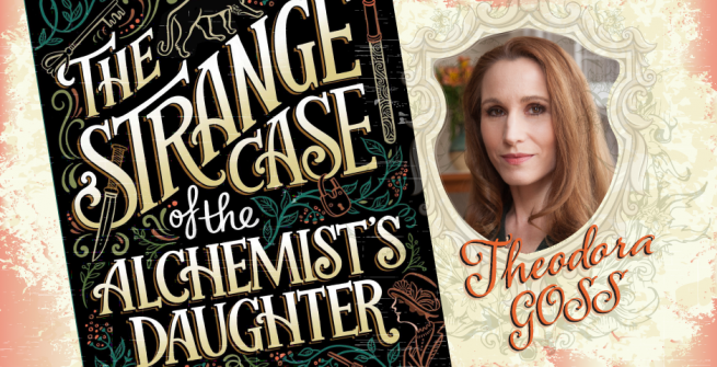 Theodora Gross picture and book cover for strange case of the alchemist's daughter