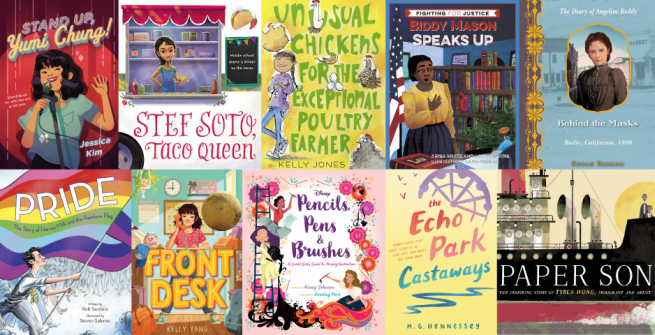 Collage of children's books about California