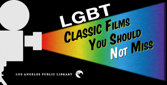 film projector projecting rainbow stream of light with the words lgbt classic films you should not miss
