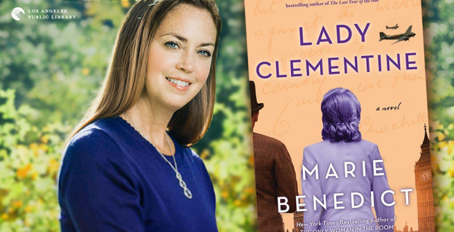 Author Marie Benedict with her latest novel, Lady Clementine