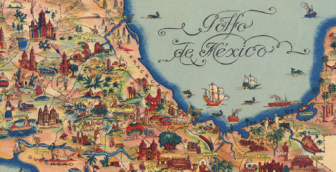 Pictorial Map of Mexico, Fischgrind Publishing, Cartographer Miguel Gomez Medina, 1931