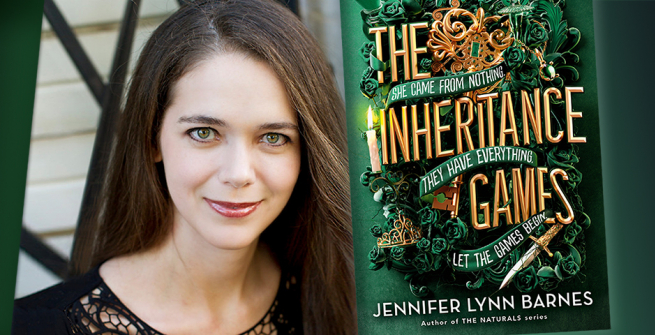 Author Jennifer Lynn Barnes and her latest book, The Inheritance Games