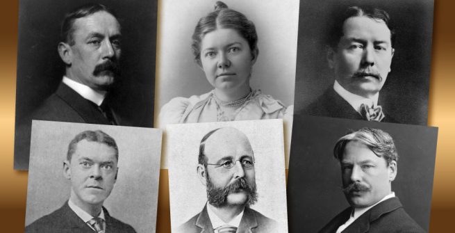 Collage of American composers known as the Boston Six