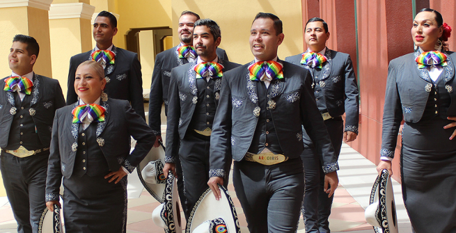 mariachi musicians with rainbow bowties