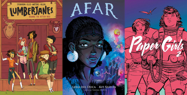 3 comic book covers featuring women