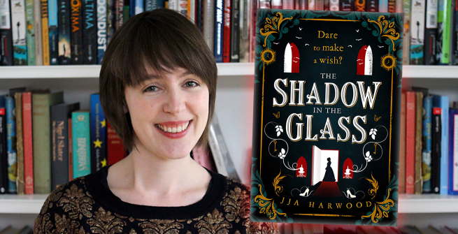 Author JJA Harwood and her debut novel, The Shadow in the Glass
