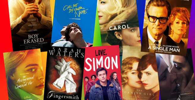 Collage of films adapted from books on LGBTQIA themes
