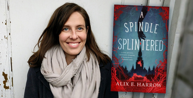 Author Alix E Harrow and her latest book, Spindle Splintered