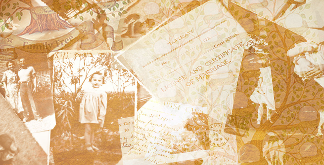 photo composite of old family photos, postcards and documents