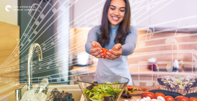 Young woman making a salad with floating musical notes in the background