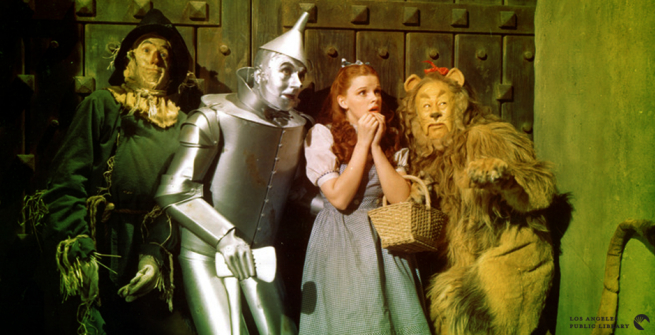 Lobby card from the original 1939 release of The Wizard of Oz featuring Judy Garland, Ray Bolger, Jack Haley and Bert Lahr