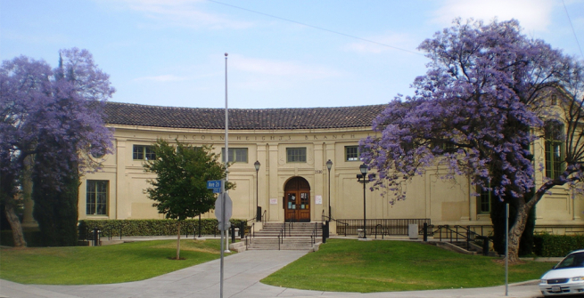 Exterior view of the Lincoln Heights Branch of the Los Angeles Public Library