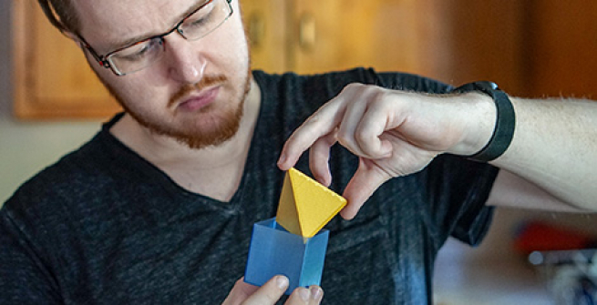 Photo of Rich with 3D printed math objects