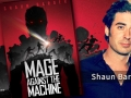 Collage of Shaun Barger and his first novel, Mage Against the Machine