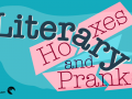 Playful graphic of the title Literary Hoaxes and Pranks