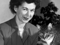 Children's author Beverly Cleary and her cat