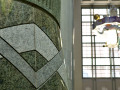 Central Library Atrium. Detail of the chevron design motif at the base of a column.