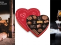 graphic of chocolates in a heart box, raw chocolate and stacked chocolate candies in wrappers