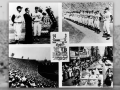 Montage of four photographs and a ticket for the opening game of the Los Angeles Dodgers, April 18, 1958.