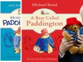 image of Paddington book covers and photo of Michael Bond holding a Paddington stuffed doll