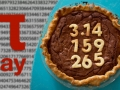 Pi Day. Pie with digits reading 3.14159265 on it