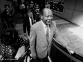 Tom Bradley on an escalator at the opening of the Red Line subway downtown, 1-30-93.