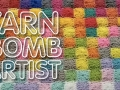 a colorful yarn background with the text, yarn bomb artist in the foreground