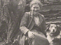 Author and illustrator, Beatrix Potter with her dog at Hill Top