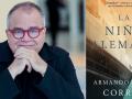 Armando Lucas Correa y la portada de su libro, La niña alemana